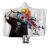 NSWSYDM 3D Printed Mit Kapuze Decke Schwarzer T-Shirt Gefärbter Haarclown Sherpa Kuschel Zweiseitige Wohndecke 150x200 cm Microfaser Leichte Wearable Plüsch Warm Gemütlich Sofadecke