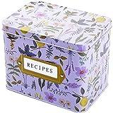 WUWEOT Rezeptkarten-Box, Zinn Rezept-Organizer, dekorativer Garten, Blumen-Geschenk-Box (16 x 10,9 x 12,7 cm)