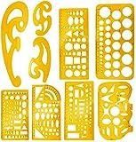 KAHEIGN 9Pcs Zeichenschablone Kurven Vorlage Lineal Set, Geometrie Zeichnungsvorlage Kreisschablone Kurvenschablone Kunststoff Messlineale für Technische Zeichnen Büro Schule