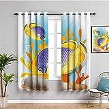 Nileco Undurchsichtiger Vorhangvorhang mit Ösen - Cartoon Ozean Tier Fisch - 234x183 cm - 2 Stück Verdunkelungsvorhänge, Thermovorhang für Kinderzimmer und Wohnzimmer, Vorhänge