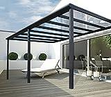 VITRO Terrassenüberdachung Polycarbonat Aluminium | 16mm Polycarbonat | Cartport Bausatz | Polycarbonat Stegplatten | Plexiglas Überdachung | Anthrazit (6m x 3,5m)