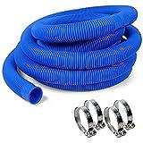 POOL Total Schwimmbad Schlauch blau Ø38mm, 6,00m + 4 V2A Schellen
