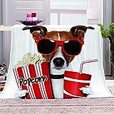 mqlone Decke Bed Kinder Fleecedecke Mikrofaser Flauschige Kuscheldeck Bettdecke Süßer Hund Bettüberwurf Für Sofa Und Couch Bettwäsche Wolldecke-180X220Cm