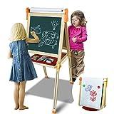 Symiu Tafel Magnettafel Holz Kindertafe Standtafel Weiße Tafel mit Magnetkarte + Papierrolle Verstellbare Standstaffelei Spielzeug für Kinder ab 3 4 5 6 Jahre Jungen M