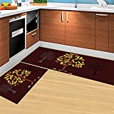 HLXX Geometrische Küche Fußmatten Mode Absorbent Rutschfester Teppich Waschbares Badezimmer Schlafzimmer Fußmatte Dekor Teppich A2 50x80cm + 50x160cm