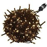 VOLTRONIC® LED Lichterkette für innen und außen, Größenwahl: 50 100 200 400 600 LEDs, warmweiß/kaltweiß/bunt/warmweiß+kaltweiß, GS geprüft, IP44, optional mit 8 Leuchtmodi/Fernbedienung/T