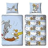 Familando Tom und Jerry Bettwäsche-Set 135x200 cm 80x80 cm · Katze Maus · Kinder-Bettwäsche 100% Baumwolle Linon · mit Reißverschluss