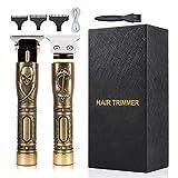 Elektrische Haarschneidemaschine für Herren, professionelles Haarschnitt-Set, zerspaltiger Bartschneider, kabellos, wiederaufladbar, T-Klingen, Konturenrasierer (Gold)