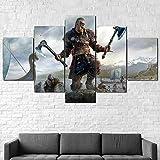 Leinwanddrucke 5 Stück Leinwand Bilder Wanddeko Wand Wohnzimmer Wanddekoration Assassins Creed Valhalla Viking Deko Hd Poster Kunstwerke Malerei 150X80 cm Rahmenlos
