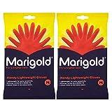 2 x 1 Paar Ringelblumen-Handschuhe aus Kunststoff, für Küche, Badezimmer, Außenbereich