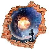 DesFoli Astronaut Galaxie Universum Weltall Sterne Planeten Wandtattoo Wandsticker Aufkleber B0228 Größe 87 cm x 90 cm