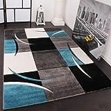 Paco Home Designer Teppich mit Konturenschnitt Karo Muster Türkis Grau, Grösse:80x150