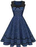 DRESSTELLS Damen 50er Jahre Pinup Rockabilly Petticoat Kleid Polka Dots Retro Swing Kleid Navy Small White Dot S