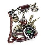 Futchoy Vintage Schnurgebundenes Festnetztelefon FSK/DTMF Haustelefon Telefon Retro Festnetztelefon Nostalgietelefon mit LCD Display mit Wählscheibe Desk Retro Geschenk