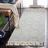 SHACOS Teppichläufer Grau Teppich Bedruckt Mit Quasten 60x130 cm Baumwolltepich Waschbar Küchenteppiche Abwaschbar Teppiche für Wohnzimmer Eingangsbereich F