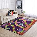 Teppich Weltraum AstronautenRakete Spielkarte Bereich Teppich Modern Rechteckiger Schlafzimmer Teppich Teppich-Griffband Geschenke White 91x152cm
