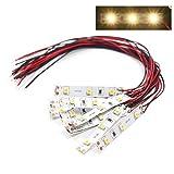 Evemodel NEU 10 STK. 3-LED Hausbeleuchtung 5cm warmweiss mit Kabel 20cm 12-18 V DD01WM-10N-EU