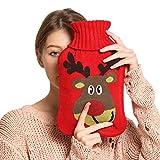 Wärmflasche, 2L Wärmflaschen groß mit weicher Strickwolle Bezug Abnehmbarer und waschbarer Wärmebeutel für Hand Fuß Körper Warmhalten Schnelle Schmerzlinderung Komfort (Roter Elch)
