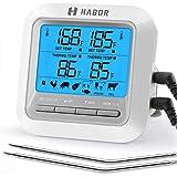 HABOR Thermometer Küche Digitales Grillthermometer Bratenthermometer Fleischthermometer 2 Sonden Haushaltsthermometer Temperatur Voreinstellung, Küchenwecker, Sofortiges Auslesen für Küche, Grill