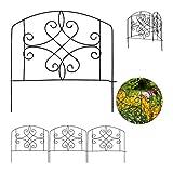 Relaxdays Beetzaun, 4-teilige Beetumrandung für Garten, Dekozaun Metall, antike Verzierungen, HxB: 32 x 186 cm, schwarz