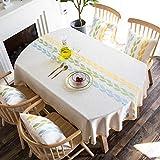 Jstoo Tischtuch Ovale Tischdecke Stoff Kunst Tischdecke Ausziehbare Klapptisch Baumwolle Und Leinen-Geld Blattgrün_Oval 135 * 185 cm