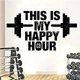 HGFDHG Dies ist Meine Happy Hour Fitness Wandtattoo Fitnessstudio Zitat Vinyl Wandaufkleber Training Fitness Bodybuilding Schlafzimmer Haus Dekoration