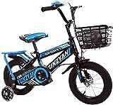Kinderfahrrad 12 14 Zoll ab 2-7 Jahre Jungen & Mädchen Fahrrad für Kinder Laufrad mit Korb, Handbremse und Rücktritt Stützräder Fahrrad für Kinder,D_14'