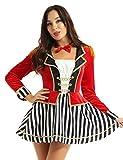 inlzdz Damen Zirkus Kostüm für Karneval Fasching Zirkusdirektor Cosplay Langarm Minikleid Samt Frack Oberteil mit Fliege Weihnachten Party Outfit Rot Medium