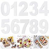 MONSIVILIA 10 Stück Zahlen Kuchenform kuchen backform 0-9 Zahlen Backform Zahlen Kuchenformen Set aus Acryl 20CM Tortenform Zahlen Backformen für Geburstag, Jahrestag, Partys(Acrylplatte)