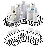 unho Duschregal Eckregal, Duschkörb Ablage ohne Bohren, Selbstklebend Wandablage für Dusche Badezimmer Toilette(2 Stück)