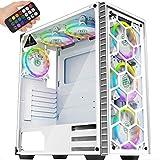 MUSETEX - ATX-Mid Tower Chassis - 6 Stück 120 mm Lüfter RGB Beleuchtungssystem - USB 3.0 Sprach-Fernbedienung - 2 gehärtete Glasplatten - PC-Gaming-Gehäuse, weiß (903MS6W)