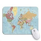 Gaming mouse pad detaillierte politische weltkarte in mercator-projektion klar beschriftete rutschfeste gummi-backing-computer-mauspad für notebooks mausmatten