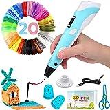 Acdolf Intelligenter 3D-Stift mit LED-Anzeige, 3D-Druckstift mit USB-Aufladung, 20-Farben-PLA-Filament-Nachfüllungen(60m), kompatibles PLA und ABS