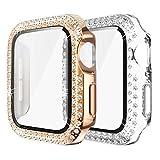 Yolovie (2-Stück) Kompatibel für Apple Watch 40mm Hülle für SE Serie 6 5 4 Gehäuse mit Displayschutzfolie aus gehärtetem Glas, Bling Cover Diamonds für iWatch Girl (40mm Transparent/ Rosegold
