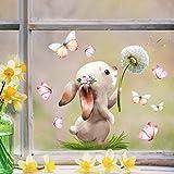 Wandtattoo Loft Fensterbild Frühling Ostern wiederverwendbar Fensteraufkleber Kinderzimmer Hase mit Pusteblume Schmetterlinge Babyzimmer/Hase Pusteblume (1139) / 1. DIN A4 Bog