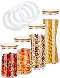 Praknu Vorratsgläser mit Deckel 4er Set - Luftdicht mit 4 Extra Dichtungen - Borosilikatglas - Spülmaschinenfest - Vorratsdosen
