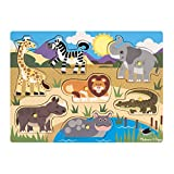 Melissa & Doug Wooden Peg Puzzle - Safari | Puzzles | Wood | 2+ | Gift for Boy or Girl