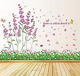 WandSticker4U®- Wandtattoo FELD der BLUMEN rosa I Wandbilder: 114x104cm I Wand-aufkleber Blumen-wiese grün Gräser Lavendel Kamille Libelle Blüten Bordüre I Deko für Wohnzimmer Kinderzimmer F