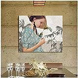 ZNNHERO Daria Petrilli Mädchen Und Vogel Poster Bild Raumdekor Moderne Wandkunst Leinwand Malerei Einzigartiges Geschenk Für Home Decoration Artwork -60X80Cmx1 No Frame