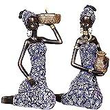 LGYKUMEG 2Pack Harz Afrikanische Lady Figur-Skulptur Kreative Kunstskulpturen für Wohnkultur-Sammlung,D