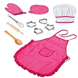 nJiaMe Chef-Set für Kinder Küche Role Play-Koch-Kostüm-Rosa mit Schürze Chef-Hut Utensilien Kochen Mitt