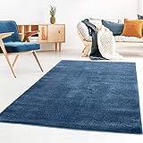 Taracarpet Kurzflor-Designer Uni Teppich extra weich fürs Wohnzimmer, Schlafzimmer, Esszimmer oder Kinderzimmer Gala dunkel-blau 120x170