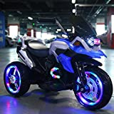 Kinder-Elektro-Motorrad, batteriebetriebene Fahrt auf Motor Bike 3 Räder mit Doppelantrieb und LED-Scheinwerfer, elektrische Fahrt auf Spielzeug-Auto mit Stützrad Music Player hefeide ( Color : Blue )