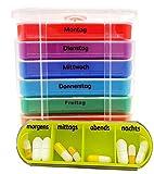 M&H-24 Tablettenbox Medikamentenbox Pillenbox für 7 Tage Transparent - Pillen-Tabletten-Dose Medikamentendispenser Wochendosierer Woche 4-Fächer Morgens Mittags Abends Nachts Transparent 1 Stück