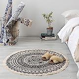 East dragon Mandala Teppich Rund Baumwolle,Baumwolle Teppiche mit Quasten Handgewebte Bedruckte Teppich rutschfest Abwaschbar Bereich Teppich für Schlafzimmer, Küche, Waschküche (90cm*90cm C)