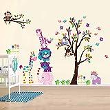 Walplus Wandaufkleber Happy Animals Abnehmbare Selbstklebend Wandbild Kunst Aufkleber Home Dekoration Wohnzimmer Schlafzimmer Büro Tapete Kinderzimmer Geschenk Mehrfarbig