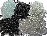 1kg Glassteine Glaskiesel | 3-6mm Körnung Bruchglas & 6-9mm Perlen Glas | Transparent Schwarz Weiß – gerundet oder Split | Feuerglas für Kamin Feuerstelle (6-9mm Perlen KLAR)