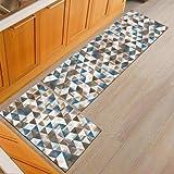 OPLJ Geometrische Küchenbodenmatte Anti-Rutsch-Bürostuhl Willkommen Bodenmatte Teppiche für Küche Badezimmer Teppich Fußmatte A3 50x80