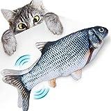 elloLife Elektrisch Spielzeug Fisch, Katzenspielzeug Fisch Simulation mit USB Charge mit Katzenminze Kauen für Katze zu Spielen, Beißen, Kauen und Treten Interaktives Spielzeug für H