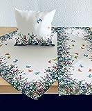 Hossner Heimtex Tischdecke Tischläufer Mitteldecke Kissenhülle Kissenbezug Sommer Bunte Wiesenblumen und Schmetterlinge auf weißem Untergrund (85 x 85 cm)